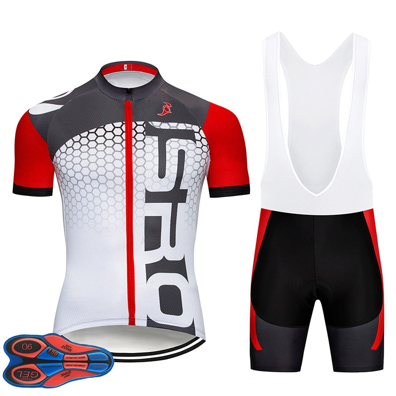 Red PRO TEAM cycling jersey Ropa Ciclismo 9D Gel Pad