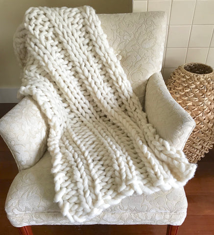 Double Rib Stitch Blanket - Chunky Knit Blanket