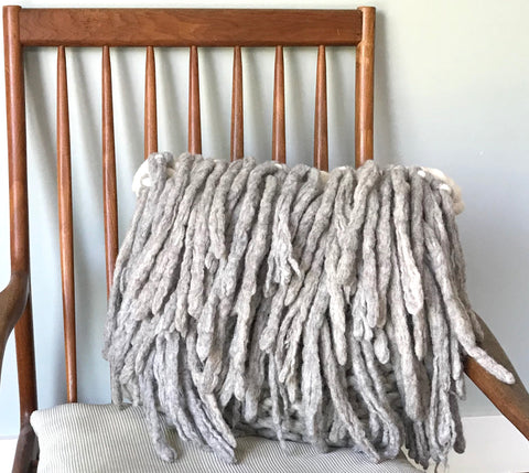 Chunky Knit Pillow with Fringe