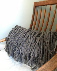 Chunky Oblong Knit Pillow with Fringe