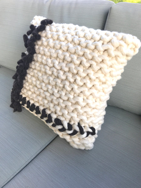 Chunky Knit Pillow with Fringe- Black and White Collection