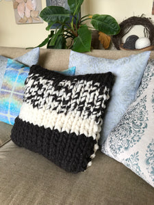 Chunky Knit Pillow - Black and White Collection