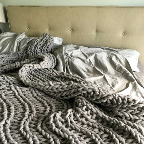 Rib Stitch Blanket - Chunky Knit Blanket