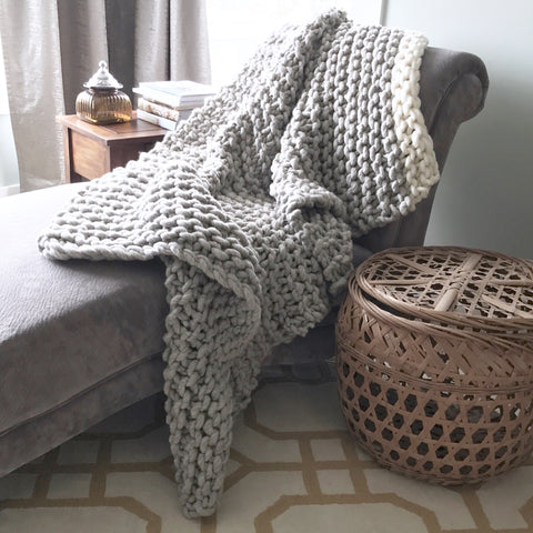 Cream Trim Chunky Knit Blanket or Throw