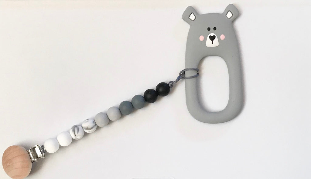 Personalized Baby Bear Paci Clip and Teether