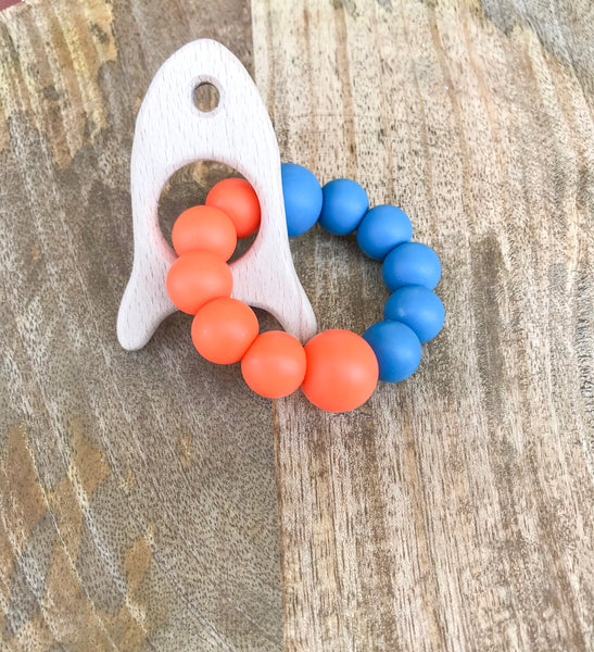 Rocket Ship Wooden Teether