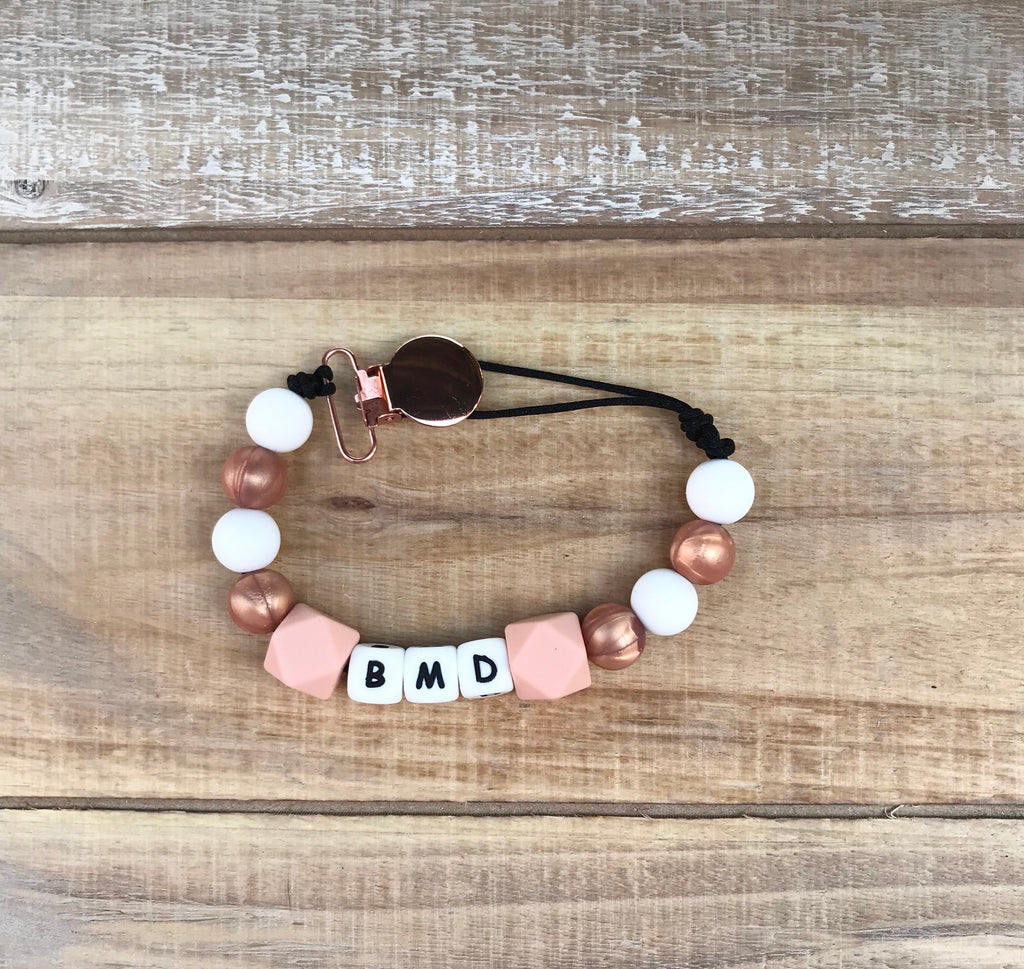 Rose Gold and Peach Paci Clip