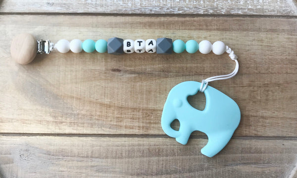 Personalized Elephant Paci clip and Teether