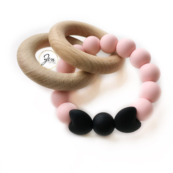 Monochrome Love - HEART BOW DUAL TEETHER