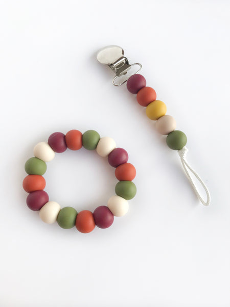 Autumn Walk: mini clip and teething ring