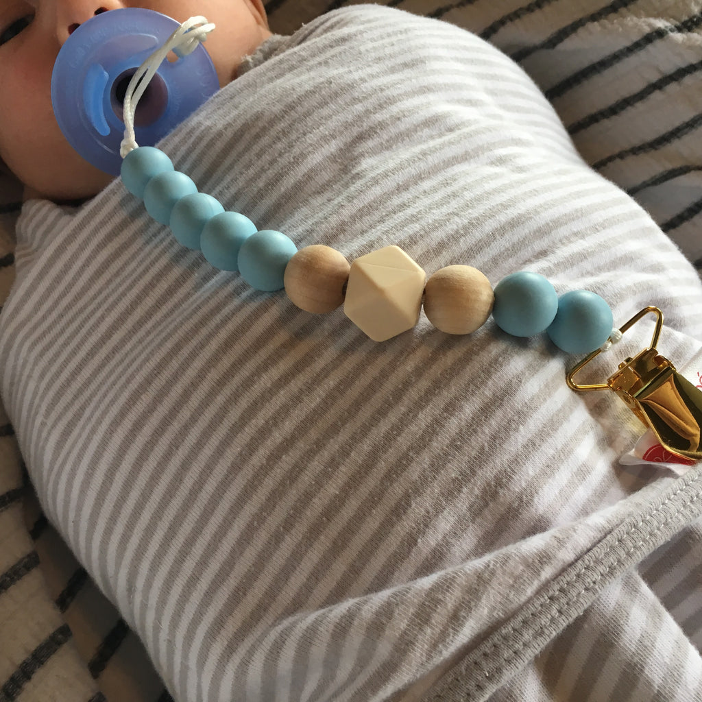 Nude Wood Pacifier Clip/Leash