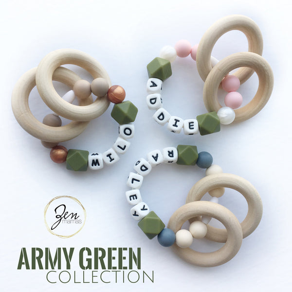 Army Green Personalized Convertible Infant Teethers
