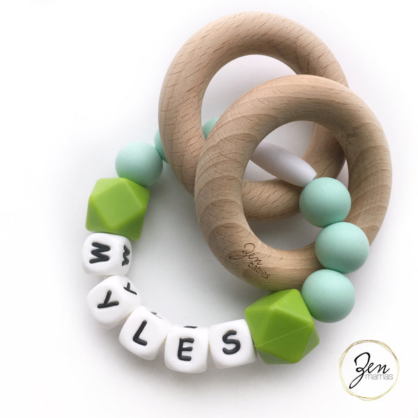 Mint Personalized Convertible Infant Teethers (2 Colors)