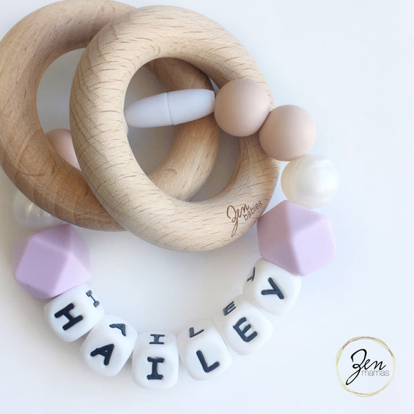 Lilac Personalized Convertible Infant Teethers