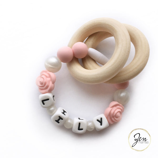 Floral Personalized Convertible Infant Teethers (10 Color Options)