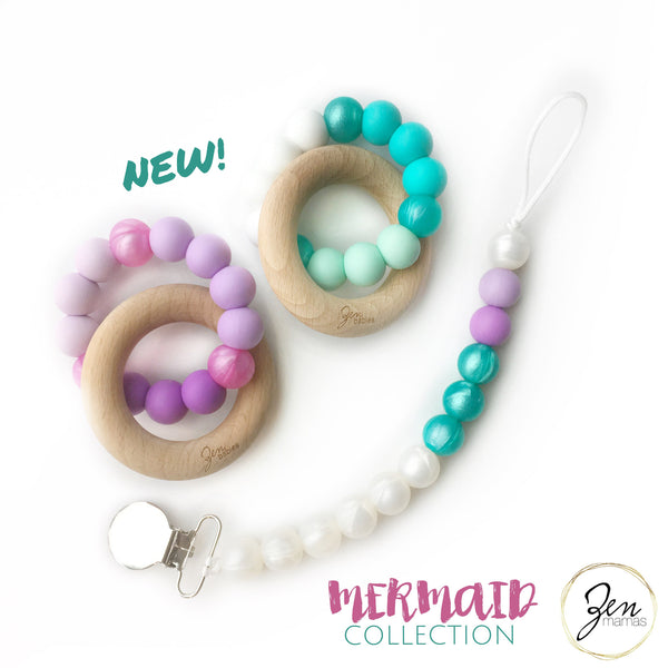 Mermaid Collection - Dual Teethers & Paci Clip