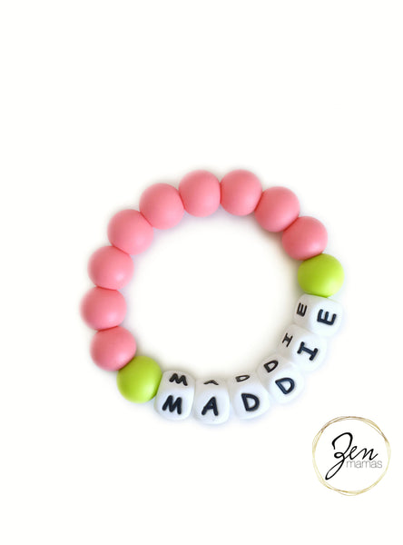 Custom and Personalized All Silicone Teething Ring