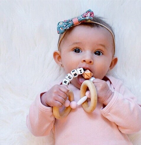 Rose Gold Personalized Convertible Infant Teethers (3 Colors)