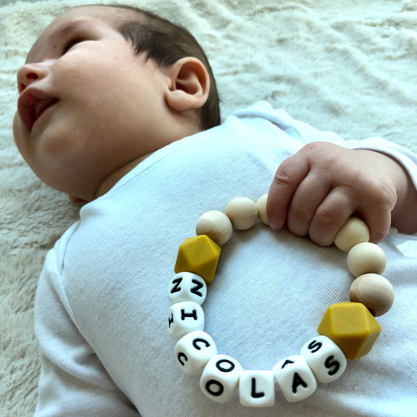 Pistachio Wood Personalized Convertible Infant Teethers