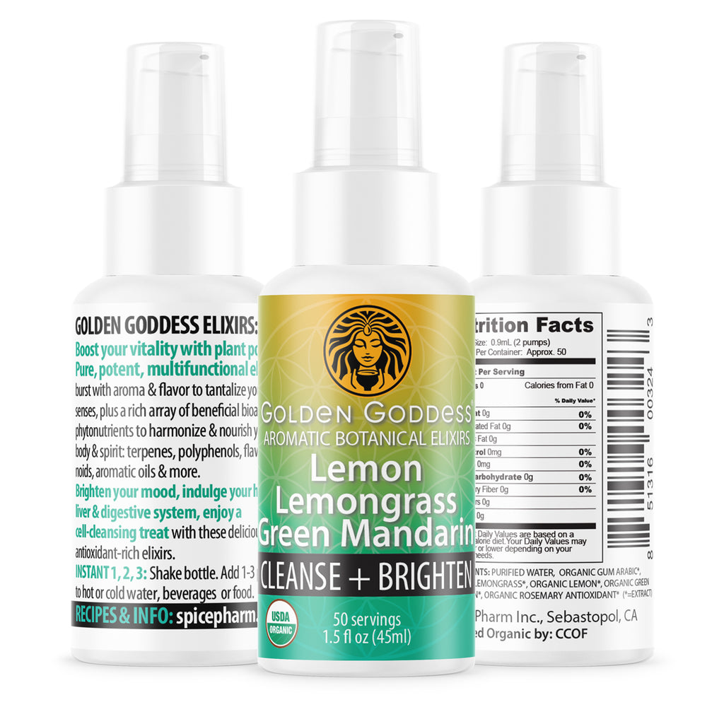 Golden Goddess® Lemon Lemongrass Green Mandarin Aromatic Botanical Elixir