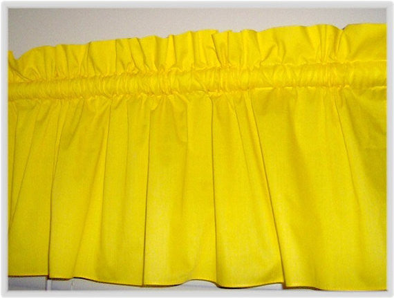 Solid Bright yellow Valance Curtain Window Treatment, 58 Inches Wide Custom rod Pocket and long. Free Ship