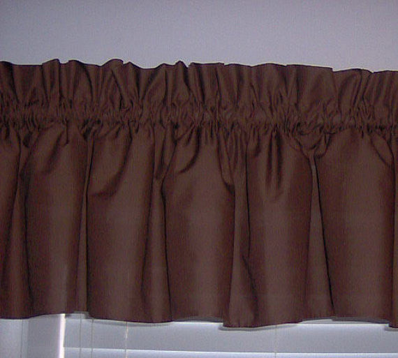 Brown Valance Curtain Window Treatment, 58 Inches Wide Custom rod Pocket and long.