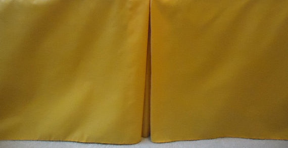 "Solid Gold yellow Crib Skirt Tailored, Box Pleat. baby Cribs. Fits Toddler's Bed. 4 Sided box Pleat . Free Shipping. Size 10"",14"" or 21"""