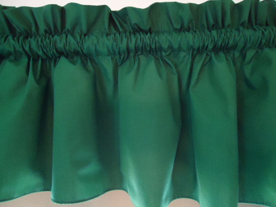 Hunter green Valance Curtain Window Treatment, 58 Inches Wide Custom rod Pocket and long. f.shipping
