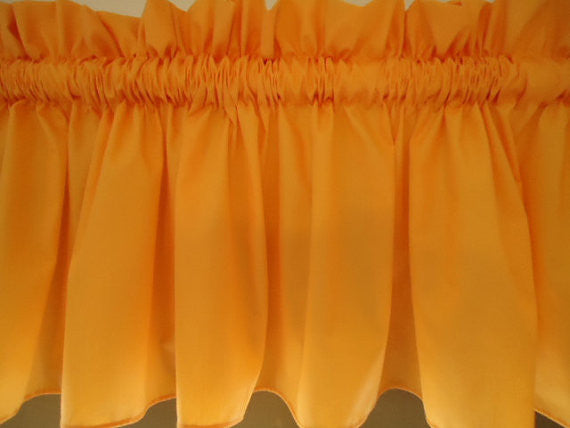 Light Orange Valance Curtain Window Treatment, 58 Inches Wide Custom rod Pocket and long. f.shipping