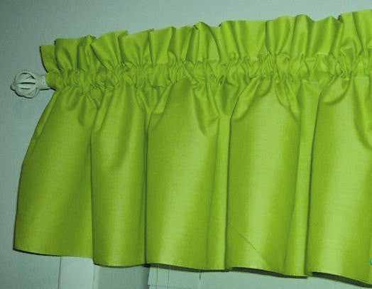 Solid lime green Valance Curtain Window Treatment, 58 Inches Wide Custom rod Pocket and long. Free Shipping