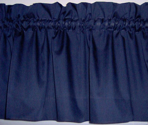 Navy Blue Valance Curtain Window Treatment, 58 Inches Wide Custom rod Pocket and long. Free