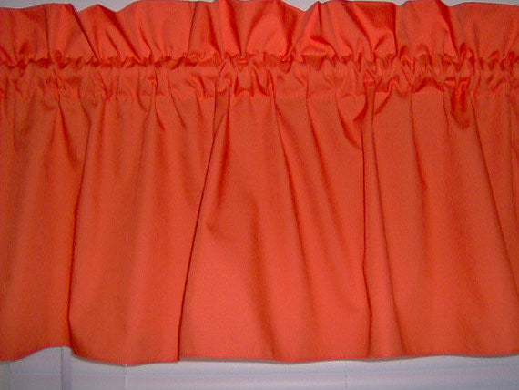 Solid Orange Valance Curtain Window Treatment, 58 Inches Wide Custom rod Pocket and long. Free Shipp