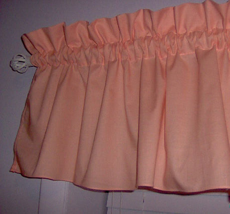 Peach Valance Curtain Window Treatment, 58 Inches Wide Custom rod Pocket and long. free shipping