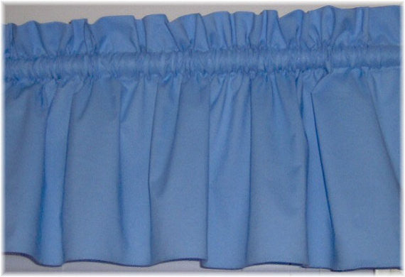 Light Blue Valance Curtain Window Treatment, 58 Inches Wide Custom rod Pocket and long. free shipping