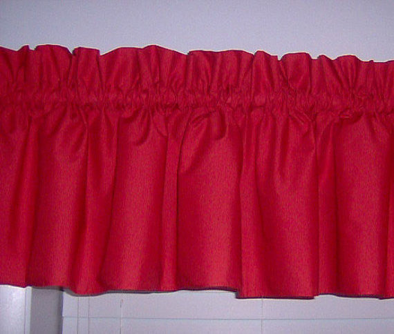 Red Valance Curtain Window Treatment, 58 Inches Wide Custom rod Pocket and long. free shipping