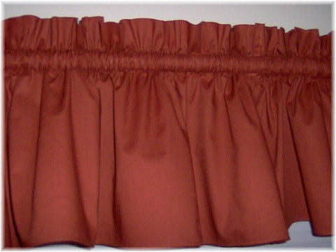 Rust Valance Curtain Window Treatment, burnt orange ,58 Inches Wide Custom rod Pocket and long. free shipping
