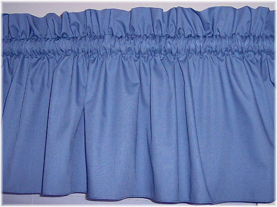 Slate Blue Valance Curtain Window Treatment, 58 Inches Wide Custom rod Pocket and long. free shipping