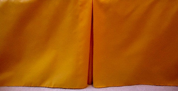 Solid Orange Crib Skirt Tailored, Box Pleat. Cribskirt. Fits Toddler's Bed. 4 Sided , box Pleat . Free Shippi