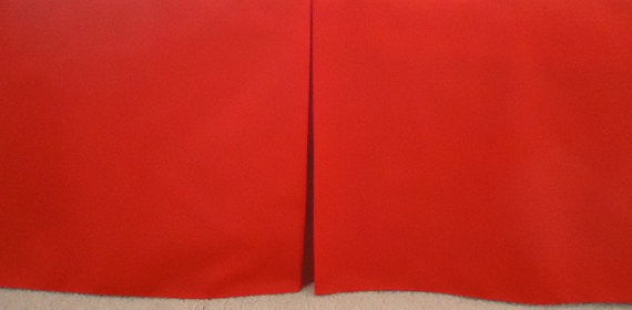 Solid Red Crib Skirt Crib. Fits Toddler's Bed. 4 Sided box Pleat . Primary Red. New, Free Ship
