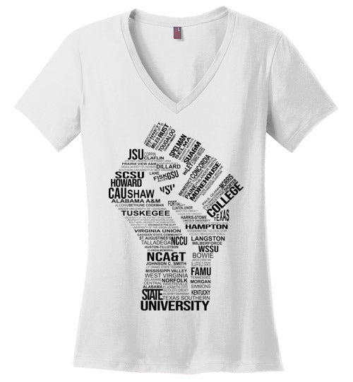 Women's Historically Black Power V-Neck (Black)