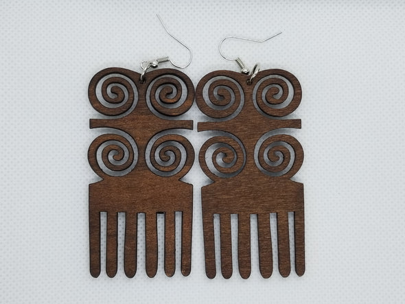 Afro Pic Wooden Earrings