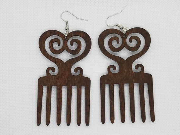 Afro Comb Wooden Earrings