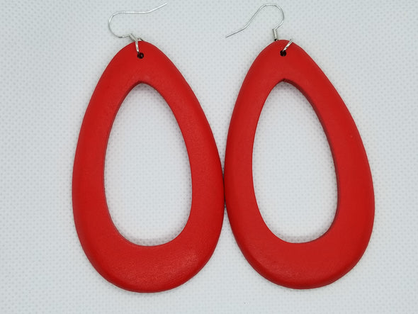 Colorful Oval Wooden Earrings
