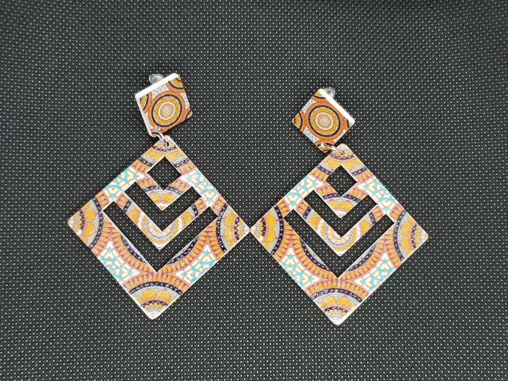 Prismatic Diamond Wooden Earrings