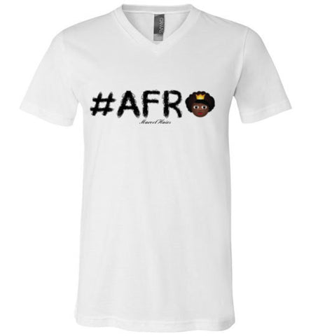 #Afro V-Neck-Shirts-Marvel Hairs