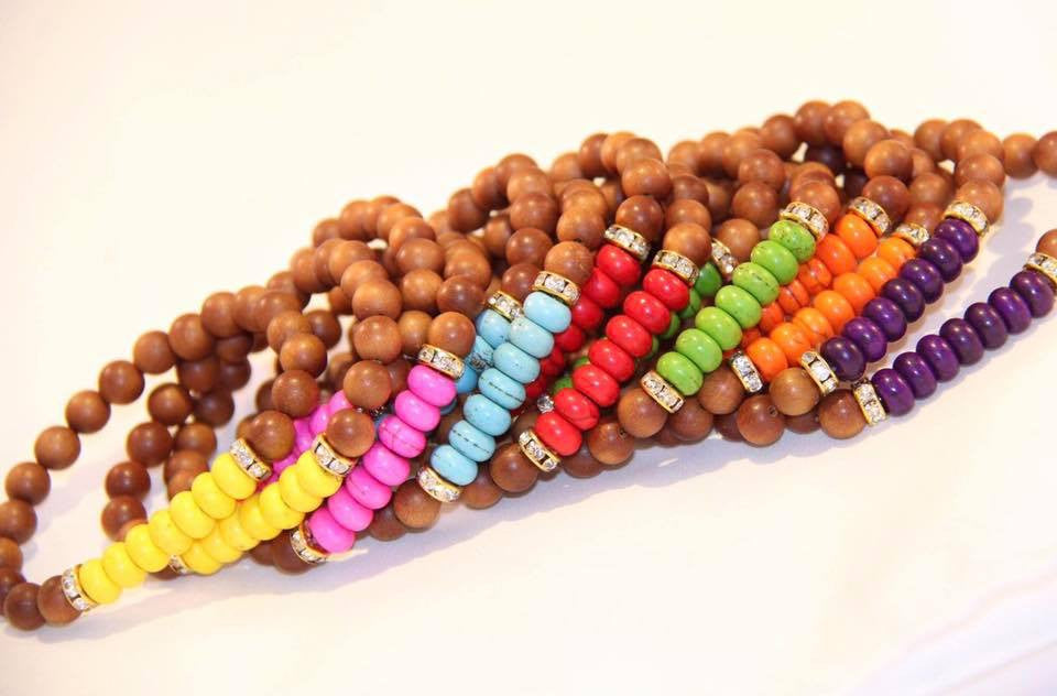 Bracelets made with natural Sandal wood & howlite beads.