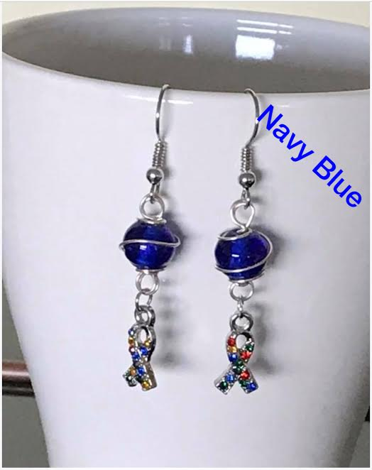 Wire wrapped autism awareness ear rings