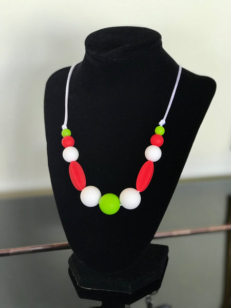 Chewy Neckalce - Red Green White colors