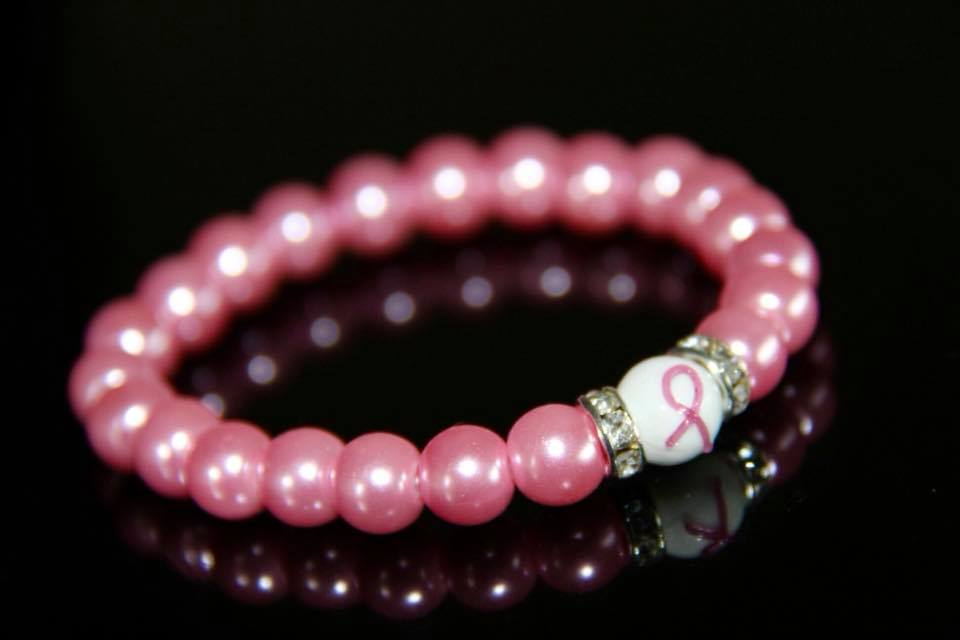 Pink glass pearl beads bracelet