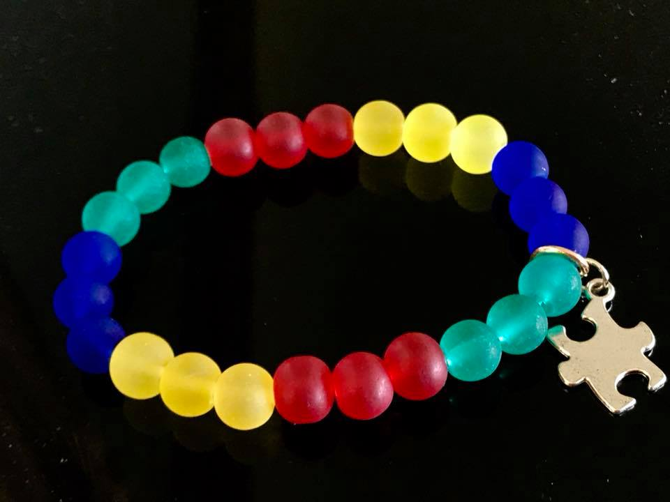 Seaglass beads autism awareness bracelet